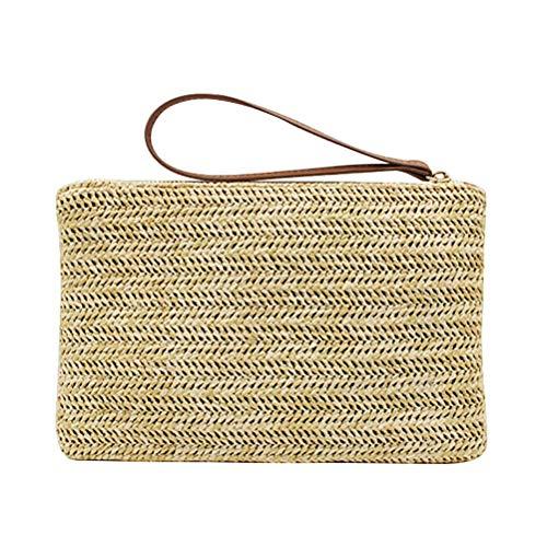 Fenical Pochette di paglia Bohemian Zipper Wristlet Summer Beach Handbag per le donne