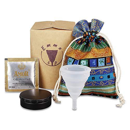 EmmaCup Menstruationstasse Set | Faltbarer Menstruations-Cup aus 100% medizinischem Silikon BPA-Frei | Nachhaltiger Menstruationsbecher inkl. Dose und Beutel