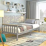 Panana Single 3FT <span class='highlight'>Bed</span> Frame, Pure Solid Pine Wooden <span class='highlight'>Bed</span> Base Slatted <span class='highlight'>Bed</span> For Adults, Kids, Teenagers <span class='highlight'>bed</span>room furniture (Grey)