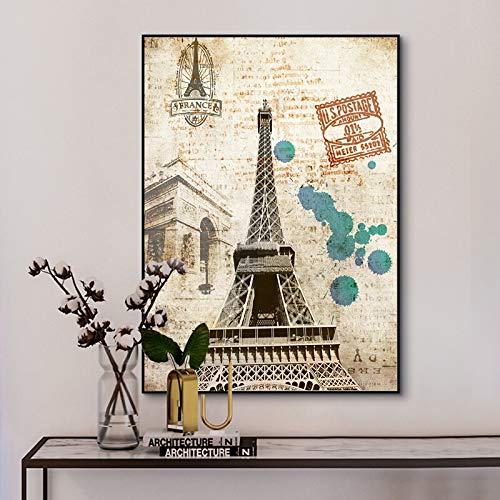 Recuerdos París Torre Eiffel Retro Sello Cartel Pintura al óleo sobre Lienzo póster impresión Sala de Estar Pintura de Pared Arte-Sin marco40X60cm