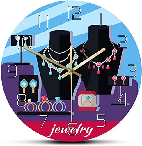 Decoración grande reloj de pared Joyería Showcase Showcase Diseño Reloj de pared Accesorios para mujer Decorativo Girly Fashion Wall Watch for Jewelry Studio Fácil de leer para la decoración de la hab