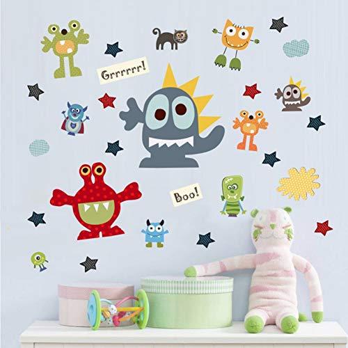 Jdhdgih Creativo Divertido Virus de Dibujos Animados Personaje Papel Tapiz habitación de los niños Sala de Estar Autoadhesivo Papel Pegatinas de Pared