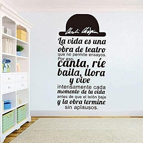 España ofrece La Vida ES UNA Obra De Teatro pegatinas de pared vinilo removible tatuajes de pared sala de estar dormitorio DIY decoración del hogar arte mural 40X81 cm