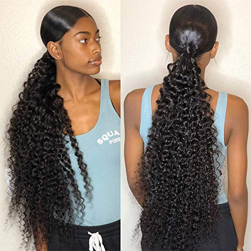 10A Virgin Hair Brazilian Deep Wave Human Hair Bundles Pineapple Wave Bundles Kinky Curly Hair Weave Bundles 100% Unprocessed Remy Human Hair Weft Extensions (8 10 12, Natural Black Color)