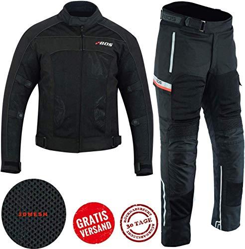 BOSmoto Herren Sportliche Motorrad kombi Motorradjacke und Hose, schwarz, 5XL