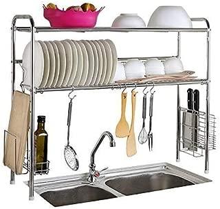 KOSGK Kitchen Racks Dish Drying Rack Drainer Rack Double Groove Utensils Holder Over Sink Display Stand Kitchen Shelf, Stainless Steel