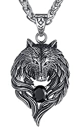 """Aoiy Men's Stainless Steel Tribal Wolf Biker Pendant Necklace, 24"""" Link Chain"""