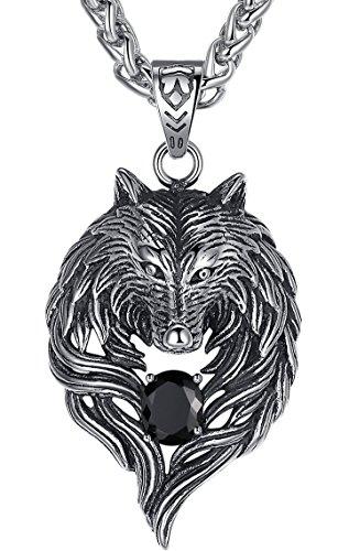 Aoiy Herren-Halskette mit Anhänger, Stammes-Wolf, Edelstahl, Schwarz Zirkonia, 61cm Kette, aap059he