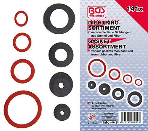BGS 8059 | Dichtring-Sortiment | Gummi und Fiberglas | 141-tlg.