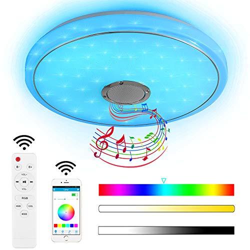 Style home 24W Bluetooth Deckenleuchte LED Deckenlampe dimmbar mit Fernbedienung moderne Lampe mit Bluetooth Lautsprecher Runde (40 * 40 * 7cm)