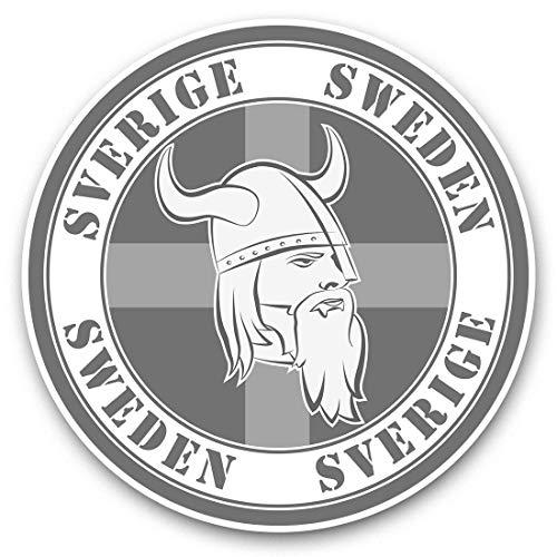 Impresionantes pegatinas de vinilo (juego de 2) 25 cm bw – Sverige Sweden Viking Suecia calcomanías divertidas para portátiles, tabletas, equipaje, reserva de chatarras, frigoríficos, regalo genial #40747