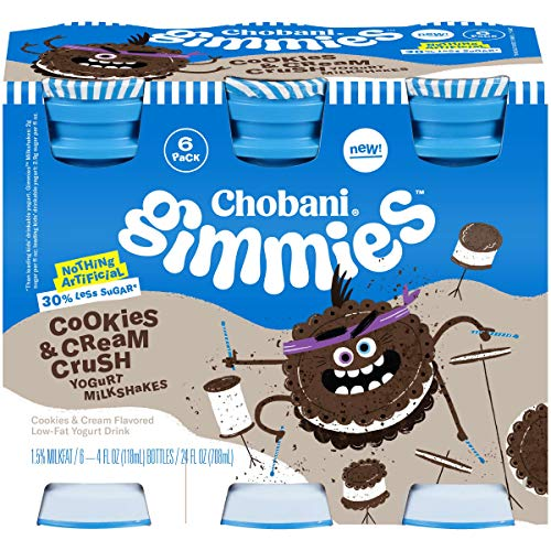 Chobani Gimmies Protein Packed Yogurt Milkshakes 4 ounce, 6-Count (Pack of 4) (Cookies & Cream)