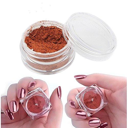 Artlalic - Polvo holográfico para uñas (2 g/caja, láser, oro rosa, cromo, polvo para manicura, pigmento para manicura)