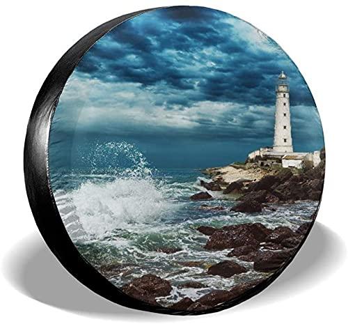 Summer Beach Lighthouse - Cubierta para llantas de repuesto,poliéster,universal,de 16 pulgadas,para llantas de repuesto para remolques,vehículos recreativos,SUV,ruedas de camiones,camiones,autocarava