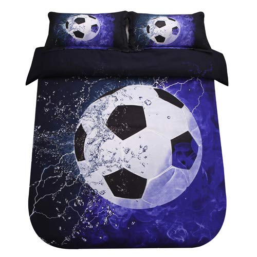 SDIII 2PC Soccer Bedding Microfiber Twin Sport Duvet Cover Set For Boys, Girls and Teens