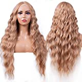 Sylhair Lace Front Wigs for Women 30' Super Long Curly Wave Wig Synthetic Hair Wigs Heat Resistant Fiber Middle Parting (30 inches, 30/85:Mixed Blond)
