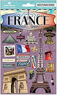 Paper House France Paris Travel & Vacation Dimensional 2D Scrapbook Stickers (1-Pack) STDM-2018