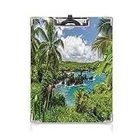 クリップボード 用箋挟 クロス貼 A4 短辺とじ ハワイアン フォルダーボードフォルダーライティングボード (2パック)ココナッツの木とエキゾチックなラグーンをリラックス自然の森雲植物岩プリントグリーンブルー