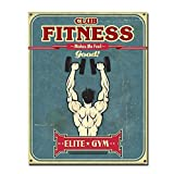 Fitness Club Metall Blechschild Retro Metall gemalt Kunst