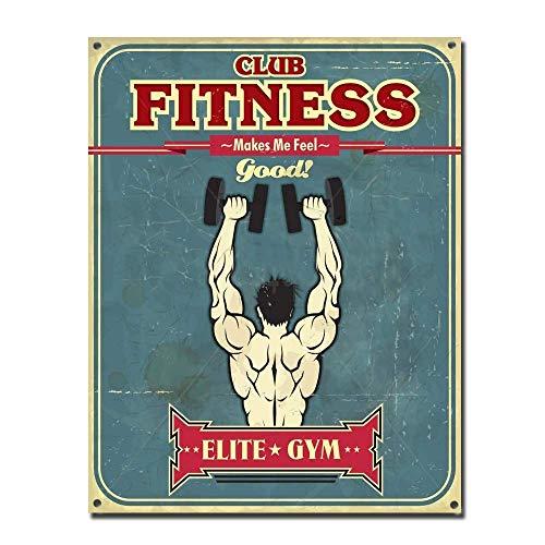 Fitness Club Metall Blechschild Retro Metall gemalt Kunst Poster Dekoration Plaque Warnung Bar Cafe Garage Party Game Room Hauptdekoration