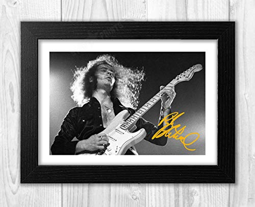 Engravia Digital Ritchie Blackmore Deep Purple Reproduction Autograph photogragh Picture Poster A4 Print  (Black Frame)