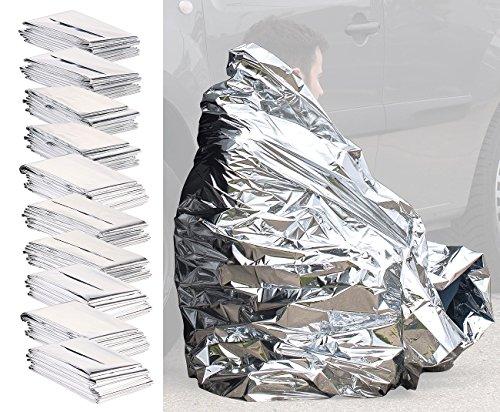 Semptec Urban Survival Technology Rettungsfolie: 10er-Set isolierende Rettungsdecken, extraleichtes Mini-Packmaß, 200cm (Survival-Rettungsdecken)