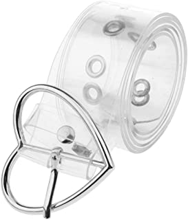 Blesiya Fashion Plastic Wide Transparent Clear Jelly Waist Belt with Fancy Heart Shaped Buckle for Women Girls