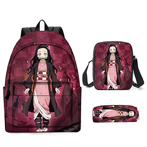 YIMENLR Mochila Escolar Demon Slayer, Mochila De Anime De Dibujos Animados, Bolsas De Hombro, Bolsa De Lápices para Niñas, Niños, Adolescentes, Viajes Escolares,E