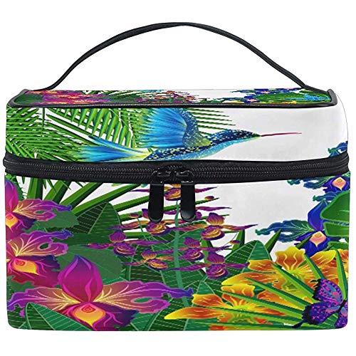 Grand Maquillage Sac Organisateur Feuilles Tropicales Fleur Papillon Cosmétique Cas Sac De Toilette De Stockage Portable Zipper Poche Voyage Brosse Sac