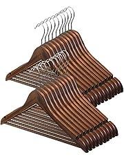 AUV ハンガー 木製オリジナルハンガー U型滑り止め バー付き 物干しはんがー 洗濯ハンガー hanger スーツ・シャツ・コート用 おしゃれ 高級感 クロゼットすっきり収納 44.5cm*1.2cm*22.5cm