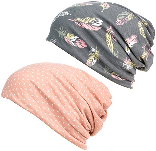 DancMolly Print Flower Cap Cancer Hats Beanie Stretch Casual Turbans for Women…