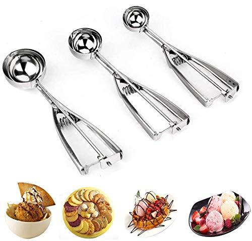 Juego de 3 piezas de Cookie Scoop, cuchara de acero inoxidable, mango de muelle, accesorios de cocina perfectos para galletas, hielo, cupcakes, magdalenas y bolsitas de carne
