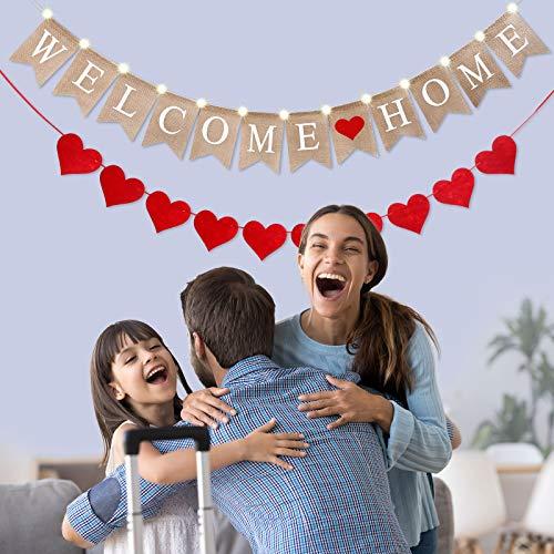 2 Piezas Banners de Welcome Home con Cadena de Luz de 2 Modos y Guirnalda de Corazón de Fieltro con Puntos Adhesivos para Decoración de Hogar Interior Eterior Fiesta