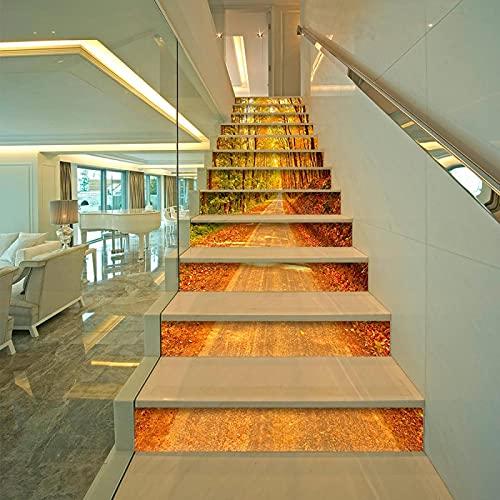 tzxdbh losetas vinilo para escaleras Amarillo hojas de arce camino 100CMx18CMx13pieces(39.3'w x 7'h x 13pieces) Escalera de moqueta autoadhesiva, Calcomanías para escaleras 3D Cocina Piso Decoración