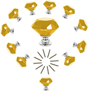 ANJUU 12 Pcs 30mm Diamond Shape Crystal Glass Cabinet Knobs with Screws Drawer Knob Pull Handle Used for Kitchen, Dresser, Door, Cupboard (Yellow)