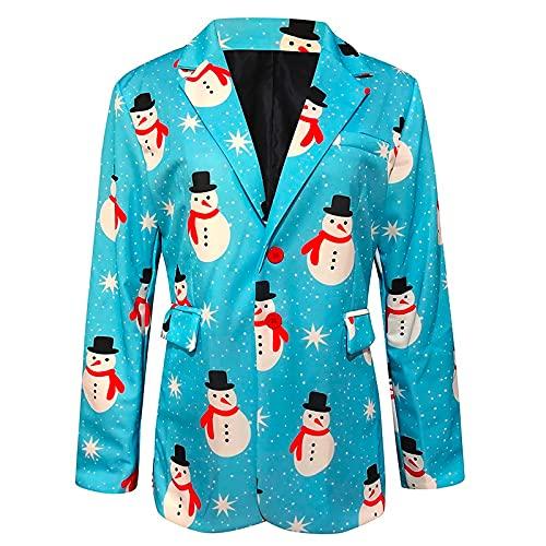 QEERT Chaqueta de exterior Softshell para hombre, con impresión navideña, chaqueta con cuello vuelto, chaqueta ligera de softshell, abrigo de invierno, azul celeste, XXL