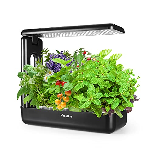VegeBox 12 Pods Hydroponics Growing System, Indoor Herb Garden Kit with Grow Light, Smart Garden for Home and Kitchen, Indoor Plant Growing System, Herb Grower, Food Grade Material ABS (Black)