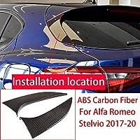 2本のABSリアテールゲートトライアングルプレートカバーアルファロメオステルビオ2017-2020用 (Carbon Fiber ABS)