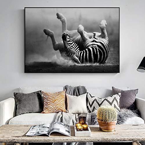 GJQFJBS Wohnzimmer Bild des abstrakten Tierpferdes dekorative Leinwand Malerei Druck Wandkunst A2 70x100cm
