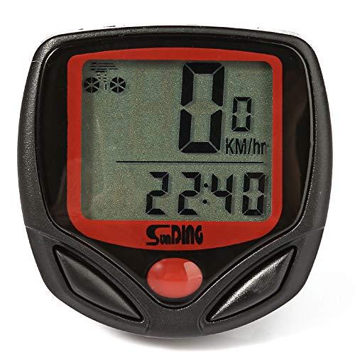 SUNDING SD-548B Tachometer mit Kabel für Fahrrad und ATV - Bike Stoppuhr Tachometer Kilometerzähler 14 Funktionen - (Schwarz)