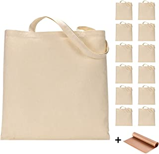 12 Pack Blank Canvas Tote Bags Bulk Shopping Bag for Crafts with 1 Piece of PTFE Teflon Sheet DIY Reusable Grocery Bag, 15...