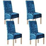 Terciopelo triturado 2/4/6 piezas XL Fundas para sillas para sillas de comedor, fundas para sillas para comedor Banquete de boda Decoración para fiestas (4 Pack(XL),Azul-G)