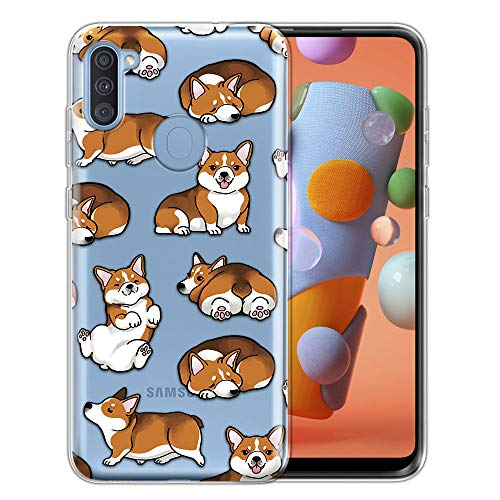 FINCIBO Case Compatible with Samsung Galaxy A11 6.4 inch 2020, Clear Transparent TPU Silicone Protector Case Cover Soft Gel Skin for Galaxy A11 - Pembroke Welsh Corgi Funny Playful Postures