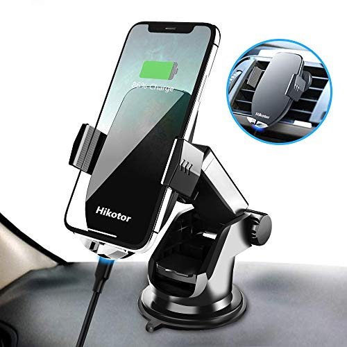GNEGNIS Draadloze Auto Oplader, 7.5w/10w Snelle Draadloze Auto-Clamping Lading Auto Air Vent Mount Telefoonhouder voor Samsung Galaxy S9/S9+/S8/S8+/S7+/Note 8/Note 5/ iPhone 11 Pro/XS/Max/XR