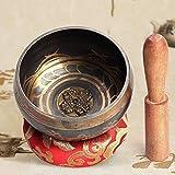 Campane Tibetane Buddista per Meditazione, Singing Bowl Tibetan, ciotole per chakra, con batacchio e cuscino, utile per meditazione, yoga e relax