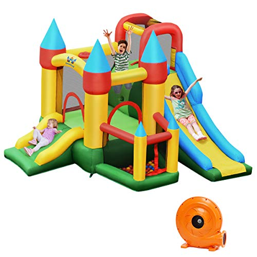 BOUNTECH Inflatable Bounce House, 6-in-1 Jumping Bouncer w/Double Slides, Ocean Ball Pool, Climb Wall, Basketball Rim, Including Carry Bag, Stakes, Repair Kit, Stakes, 60 Balls (with 780W Air Blower)