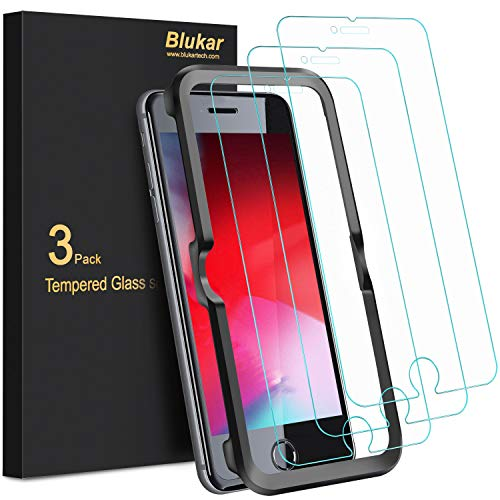 Blukar Panzerglas für iPhone 8/ iPhone 7 Schutzfolie, [3 Stück] Panzerglasfolie Mit Positionierhilfe, 9H-Härte, Blasenfrei, Kratzfest für iPhone 8/7/6/6s