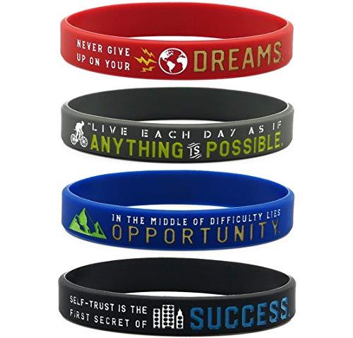 """11thGear - Braccialetti ispiratori con motivazionali """"Anything is Possible Success Dreams Opportunity"""", confezione da 4 braccialetti in silicone"""