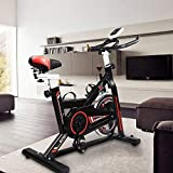 Hooseng Exercise Bike Indoor Cycling Stationary Bikes Cardio Workout Machine Upright Bike Belt Drive Adjustable Resistance Levels with LCD Digital Monitor for Home Gym Lose Weight, Black