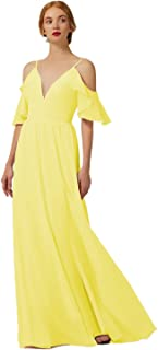 KKarine V Neck Off The Shoulder Chiffon Long Bridesmaid Dress with Sleeves Slit Prom Gown